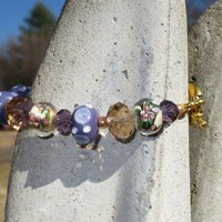 Lavender and Champagne Lampwork Glass and Crystal Bead Bracelet | evezbeadz - Jewelry on ArtFire