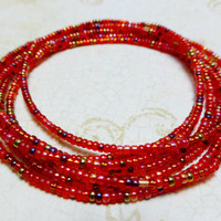 Beaded bangle bracelets, red miyuki seed beads
