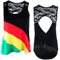 Rasta and Reggae Stripe and Lace Tank Top - Women's @ RastaEmpire.com