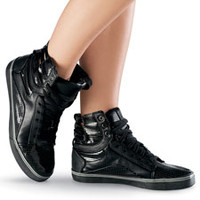 Black Patent High Top Sneaker - Urban Groove