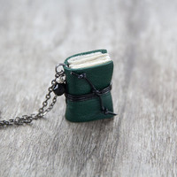 Leather miniature book necklace, mini book jewelry, book lover literature gift, eco friendly necklace pendant, steampunk - green
