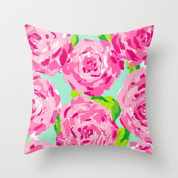 Roses (Lilly Pulitzer style) Throw Pillow by uramarinka