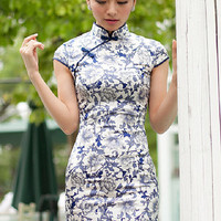 YannyExpress | Silk Handmade Cheongsam Classical Mandarin Collar Capped Sleeves Qipao