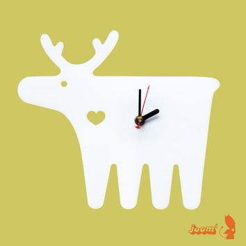 White Moose Wall Hanging Clock