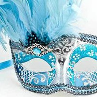 Venetian Feather Masquerade Mask Colombina Ciuffo Can Can Silver Aqua