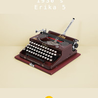 RESERVED /// 1936 Rare Erika model 5 Typewriter. Restored & in excellent working condition. Burgundy color with golden decals. With case.