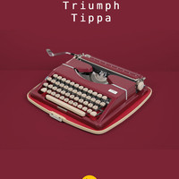 1950's Triumph Tippa Typewriter. Excellent fully working conditon. Burgundy red. West German vintage. With case. Mid century.