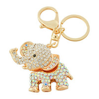 Bead Charmed Jewelry Ltd. - ELEPHANT Keychain: 14k Gold plated; Clear White Rhinestone