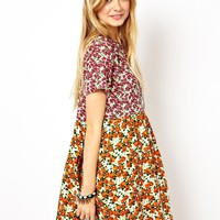 ASOS Smock Dress In Mixed Floral