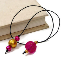 Book Thong Beaded Bookmark, Book Cord, Book String, Gift under 5,Hot Pink, Gold, Book Club, Teacher Gift