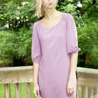 Pale Purple Bow Back 3/4 Sleeve Dress