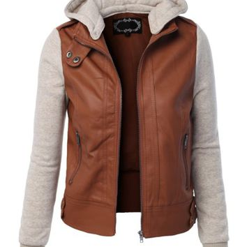 LE3NO Women's Zip Up Faux Leather Moto Jacket with Hoodie