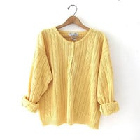 90s light yellow sweater. spring button up sweater. oversized fit.