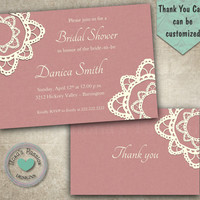 Bridal Shower Doily Lace Invitation Elegant Party Invitation