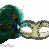 Tiffany Blue Musical Masquerade Mask - Peacock Feather Mask Venetian Details