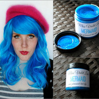Turquoise Hair Dye, Blue hair dye, Semi Permanent hair dye, Scene hair, emo hair, blue dye, turquoise dye, cosplay hair // Mermaid
