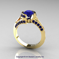 Modern French 14K Yellow Gold 1.0 Ct Blue Sapphire Engagement Ring Wedding Ring R376-14KYGBS