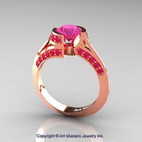Modern French 14K Rose Gold 1.0 Ct Pink Sapphire Engagement Ring Wedding Ring R376-14KRGPS