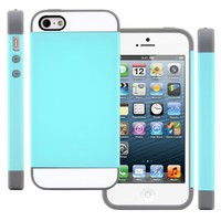 CellJoy Hybrid TPU 2PC Layered Hard Case Rubber Bumper for Apple iPhone 5 5S (At&t / Sprint / T-Mobile / Verizon / Unlocked) [CellJoy Retail Packaging] (Teal / Gray / White)