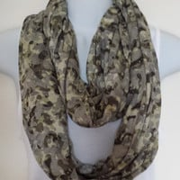 Camouflage Infinity Scarf Pattern Scarf Green Scarves Gold Scarf Fashion Scarf Womens Scarf Printed Scarf Knit Scarf Eternity Loop Trendy