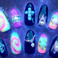 Neon Tie-Dye Ombre Seashell Cross Studded 3D nail art false fake nails summer