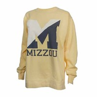 The Mizzou Store - Mizzou Comfort Colors Split Block M Yellow Long Sleeve Crew Neck Sweatshirt