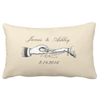 Vintage Wedding Ring Personalized Cream Pillow