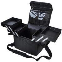 Makeup Train Case- Portable Black Cosmetic Case (Oxford)