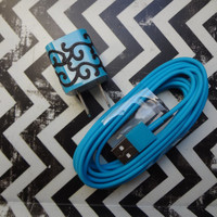 New Super Cute Turquoise/Black Scroll Designed Wall iphone 5/5s Charger + 10ft Turqoise Blue Cable Cord Super Long
