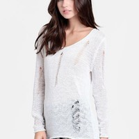 Polar Opposites Slashed Sweater | Threadsence