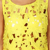 Yellow Flower Crochet Top