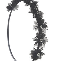 Chiffon Flowers Crown Headwrap | Wet Seal