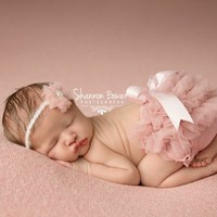Old Rose Chiffon Diaper Cover Newborn Baby Photography Props in 0-1 month - Newborn Photo Props, Bloomers, Girl Props
