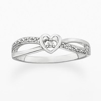 Platina 4 Diamond Accent Heart Ring