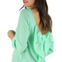 Bow Back Blouse - Mint