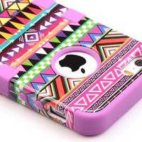 Pandamimi ULAK(TM) Hybrid High Impact Tribal Soft TPU + Hard PC Case Cover for Apple iPhone 5S 5 5G with Screen Protector and Stylus (Pink + Purple)