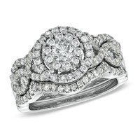 1-1/4 CT. T.W. Diamond Cluster Bridal Set in 14K White Gold