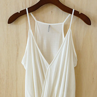 100% Modal Faux Tuck Camisole, Ivory (Great Investment Piece)