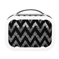 sparkly black chevron lunch box