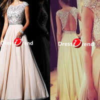 Long Cute Party Dress - Long prom dresses, Chiffon Beading evening dress,prom dress/cocktail dress/homecoming/party Dresses 2014