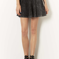 High Waisted Denim Look Skater Skirt