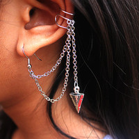 Silver Arrow Head Ear Cuff Earring