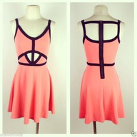 Coral Caged Skater Dress Sizes S-M-XL