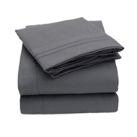 1500 Thread Count 4pc Bed Sheet Set Egyptian Quality Deep Pocket -Queen, Gray