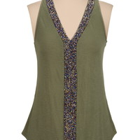 Bead Embellished V-neck tank
