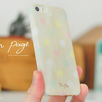 Apple iphone case for iphone iphone 5 iphone 5s iphone 5c iphone 4 iphone 4s iPhone 3Gs : pastel colorful polka dots on wood (not real wood)