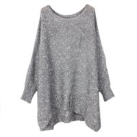Finejo Women's Knit Jumper Loose Bat Sleeve Sweater Big Size Gray