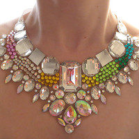Colorful Necklace, Detailed Rhinestone Statement Necklace, Dramatic Jewelry, Bright, Mega Statement Jewellery