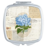 Vintage Blue Hydrangea French Compact Mirror
