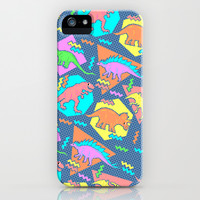 Nineties Dinosaur Pattern iPhone & iPod Case by Chobopop